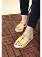 Oksit Florin Taş Detaylı Kadın Sandalet Sarı
